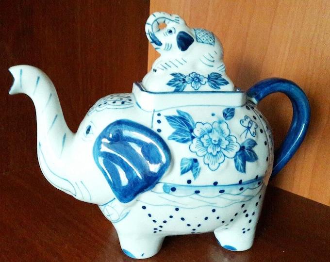 """Vintage Teapot. Ceramic Porcelain Tea Pot. """"Asian Elephant Porcelain"""" Retro Kettle. Vintage Tableware. Coffee Pot."""