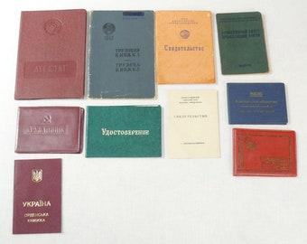 Set Of 10 Original Soviet Russian And Ukrainian Vintage Documents,Veteran ID,Docs, etc