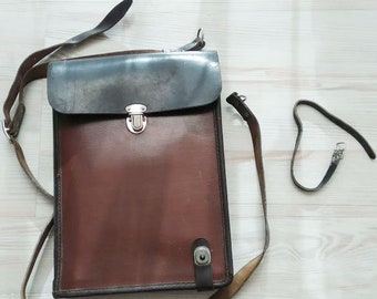 VTG Soviet Russian Bag Military Army Officer Leather Tablet Pad Map Case