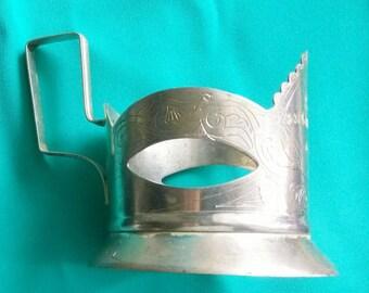 Vintage Soviet Collectible Cupronickel Tea Glass Holder. Russian Cup Holder . Retro Kitchen Drinkware. Kitchen Decor USSR.
