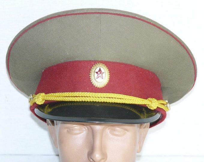 New Vintage Soviet Officer Hat Russian Visor Cap Badge Military Uniform Large Size 58 USSR