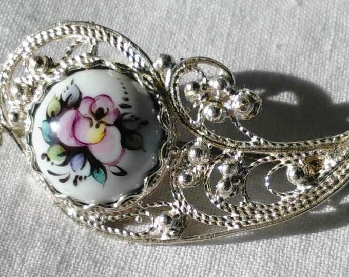 Soviet Vintage Silver-Plated Cupronickel Enamel Brooch.Russin Vintage Jewelry.Old Broach.USSR