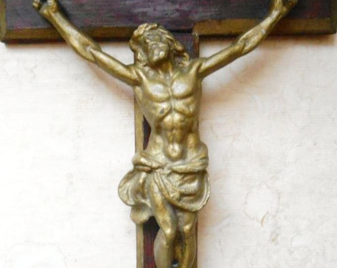 Large Vintage Bronze Crucifix Wall Wooden Cross Jesus Crucifixion Raised Corpus