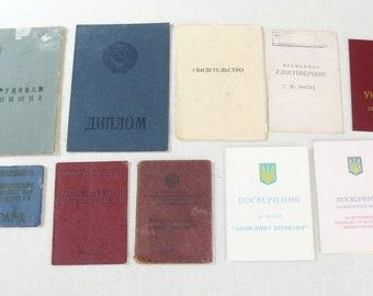 Lot 10 Original Soviet Russian And Ukrainian Vintage Documents,Diplom, Member ID, etc
