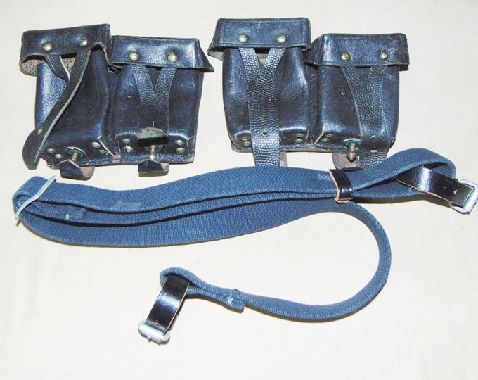 Set Of 2 Original Soviet Russian USSR Military Naval Mosin Nagant Ammo Pouches 1955 And Supporting  Belt Sling