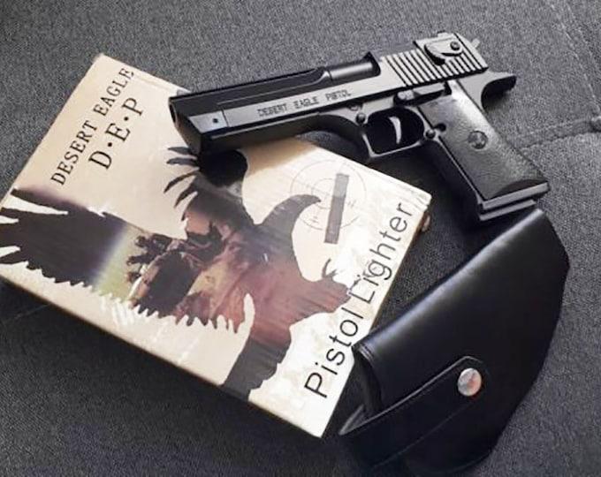 Souvenir Jet Flame Pistol Gun Metal/Plastic Gas Lighter Desert Eagle With Holster And Stand