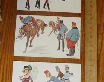Lot of 3 Original WW1  Postcards About Austrian Hungary Imperial Army. Humor. WWI Relic. 1909 Year. Printed in Austria.