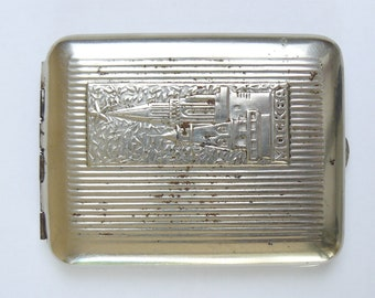 """Rare Vintage Old Metal Cigarette Case Box """"Moscow"""" Soviet Russian Cigar- Case."""