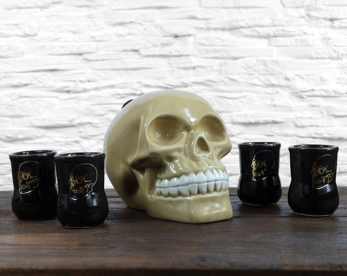"New Gift Souvenir Decanter Set For Alcohol ""Skull"". Ceramic Bottle  and 4 Wineglasses. Shtof , Jug for Alcohol"