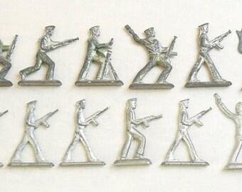 Vintage Soviet Russian 12 pcs Tin Pewter Soldiers Sailors Toys USSR
