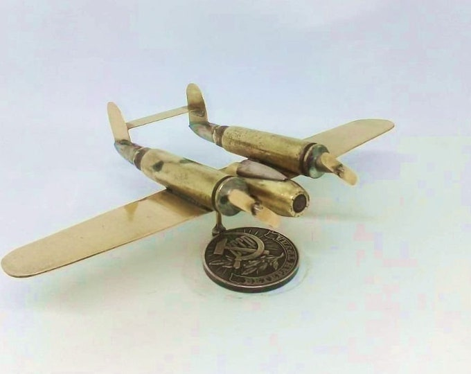 Trench Art American Jet Fighter Lockheed P-38 Lightning Model Made from WW2 Shells Cartridges Toy