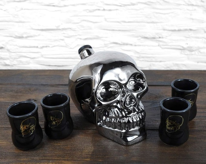 "New Gift Souvenir Decanter Set For Alcohol ""Silver Skull"". Ceramic Bottle  and 4 Wineglasses. Shtof , Jug for Alcohol"