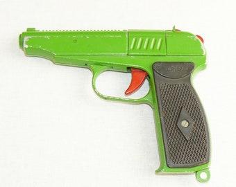 Original Soviet Russian Vintage Metal Green Toy PM Caps Pistol Makarov Gun USSR