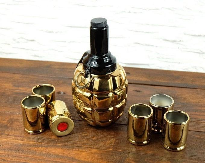 "New Gift Souvenir Decanter Set For Alcohol ""F1 Grenade"". Ceramic Bottle and 6 Wineglasses. Shtof , Jug for Alcohol"