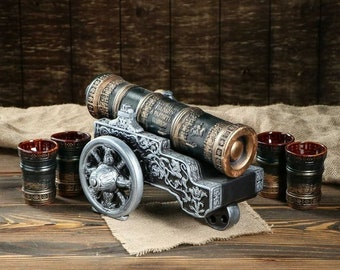 """New Gift Souvenir Decanter Set For Alcohol """"The Tsar Cannon"""". Ceramic Bottle and 4 Wineglasses. Shtof , Jug for Alcohol"""