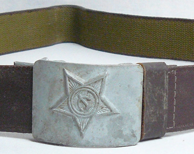 Russian Canvas Belt Buckle Soldier Soviet Original Army Military Uniform USSR