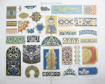 Antique Russian Page Enamel Painting Pre 1917 Illustration Original
