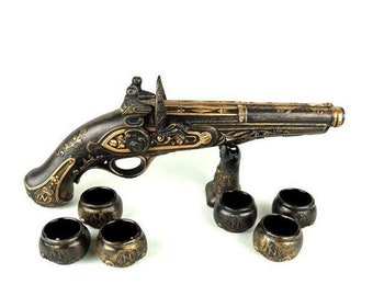 "New Gift Souvenir Decanter Set For Alcohol ""Musket Gun"". Ceramic Bottle  and 6 Wineglasses. Shtof , Jug for Alcohol"