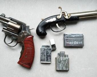 Set Of 5 Original Vintage Lighters Pistol Lighters Soviet Lighter USSR Metal Gas Lighters