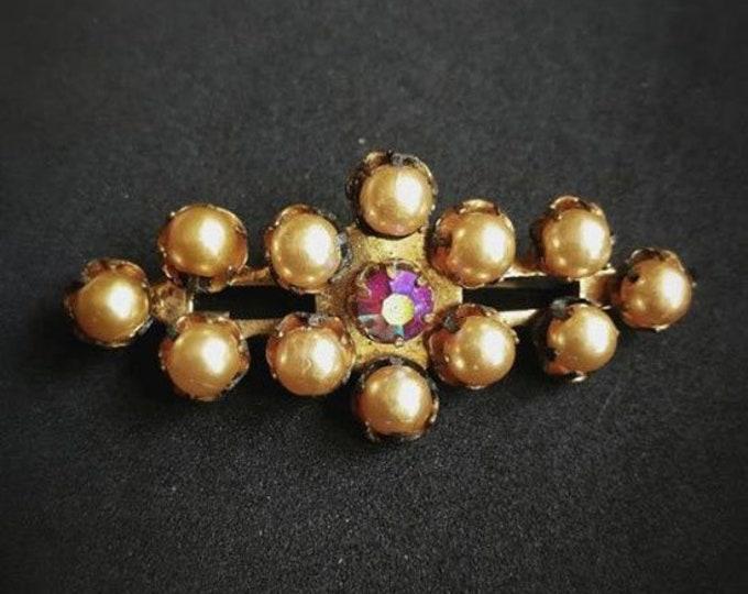 Vintage Soviet Period Czech Brooch.Vintage Jewelry.Old Broach.CSSR.Czech Bijouterie.