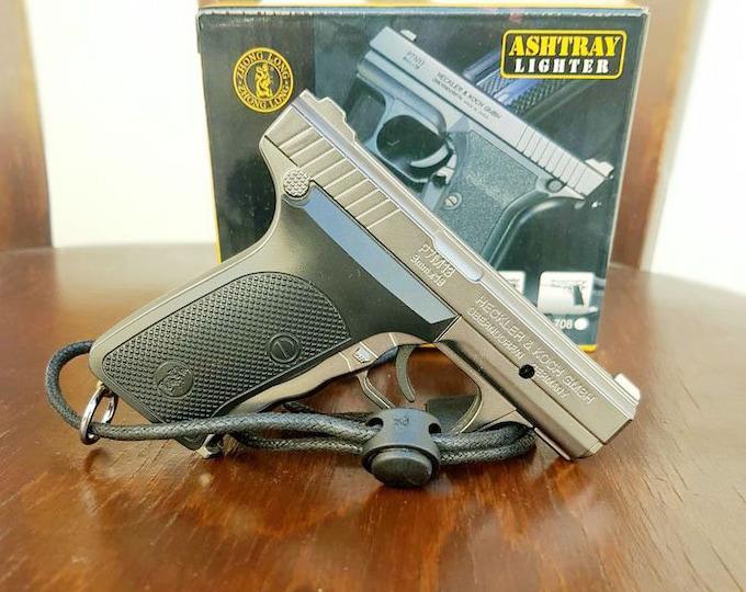 "Souvenir Jet Flame Pistol Gun Compact Gas Lighter ""Heckler & Koch"" With Laser Pointer"
