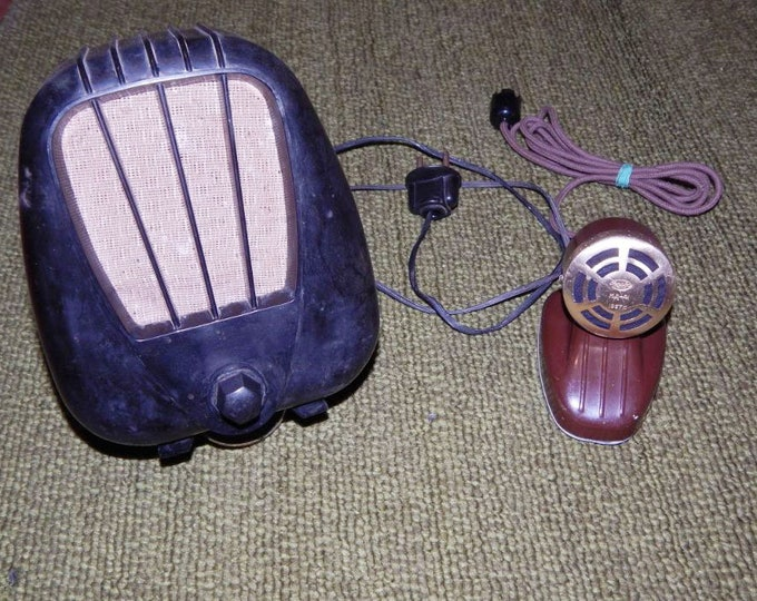 Set Of Original Soviet Russian Vintage Bakelite Radio Point Wire Receiver And Microphone MD-41 USSR 1957
