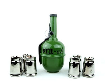 "New Gift Souvenir Decanter Set For Alcohol ""RGD-0.5 Grenade"". Ceramic Bottle and 6 Wineglasses. Shtof , Jug for Alcohol"
