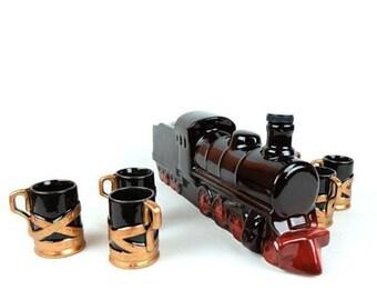 "New Gift Souvenir Decanter Set For Alcohol "" Locomotive"". Ceramic Bottle and 6 Wineglasses. Shtof , Jug for Alcohol"