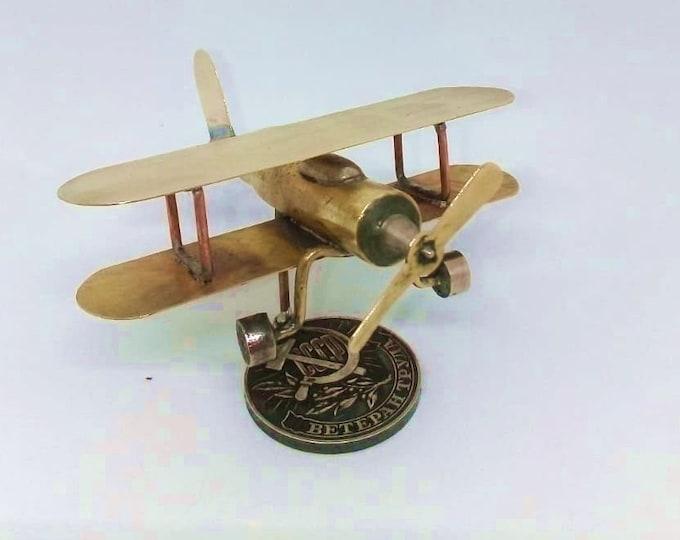 Trench Art Luftwaffe Bücker Bü 133 Jungmeister Biplane WW2 Shells Cartridge Toy