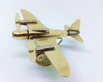 Trench Art Soviet Escort Fighter Ilushin CKB-54 Model Made from WW2 Shells Cartridges Toy