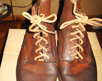 Original Vintage Leather Military USA Lend Lease Boots 1943 Size 41