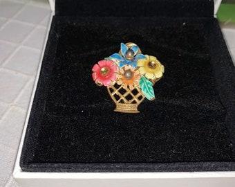 """NEW Vintage Soviet Russian Metal Brooch """"Bouquet Of Flowers"""". Vintage Russian Jewelry.Old Broach USSR.Soviet Bijouterie"""