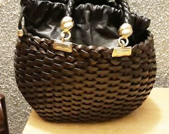 Original Vintage Valentino Lady's Bag. Genuine Leather. Women's Hand Bag. Handle Leather Bag.