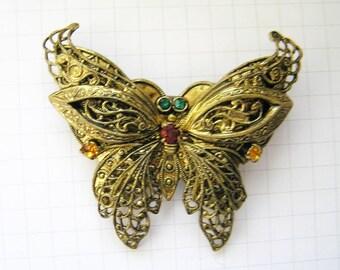 """Vintage Soviet Russian Metal """"Butterfly"""" Brooch. Vintage Russian Jewelry.Old Broach USSR.Soviet Bijouterie"""