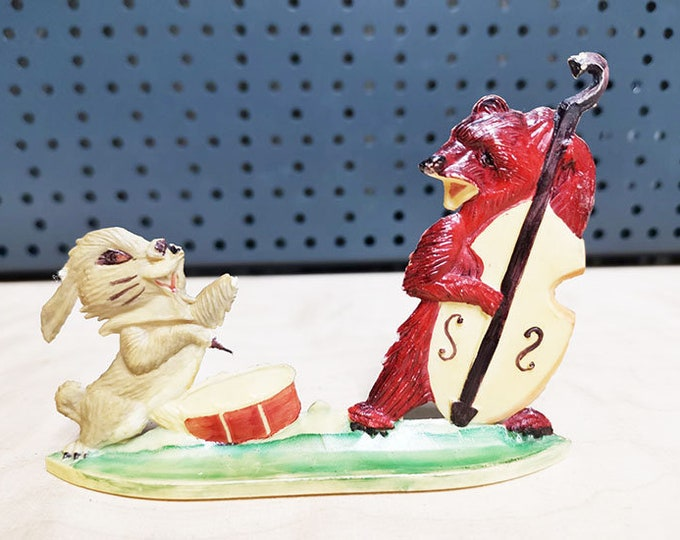 "Original Soviet Russian Vintage Plastic Toy Figurine Statue ""Bear And Rabbit"" USSR"