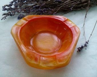 """Vintage Ashtray """"Stryi"""" Soviet Russian Ashtray Amber Glass Tobacciana USSR 1960's"""