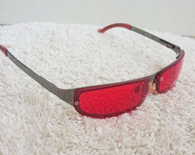 Vintage German Metal Red Sunglasses. Retro Sunglasses. Style 80's.Vintage Lens