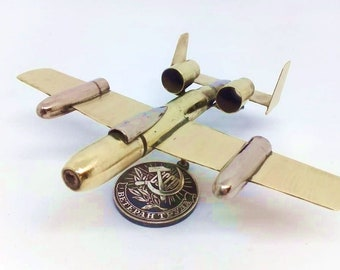 A 10 USA Fighter Military Trench Art Aircraft Made from WW2 Shells Cartridges