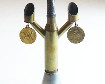 Candlestick Trench Art Military Table Stand Made from WW2 Shells Cartridges