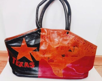 Original Vintage Texas Lady's Bag. Genuine Leather. Women's Hand Bag. Handle Leather Bag.