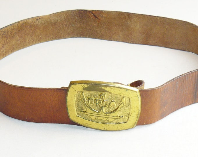 Vintage Original Genuine Leather Polish Belt w/Buckle Odra 1970's Retro