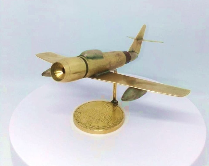 Trench Art Soviet Jet Fighter MIG-15 Model Made from WW2 Shells Cartridges Bullets Toy