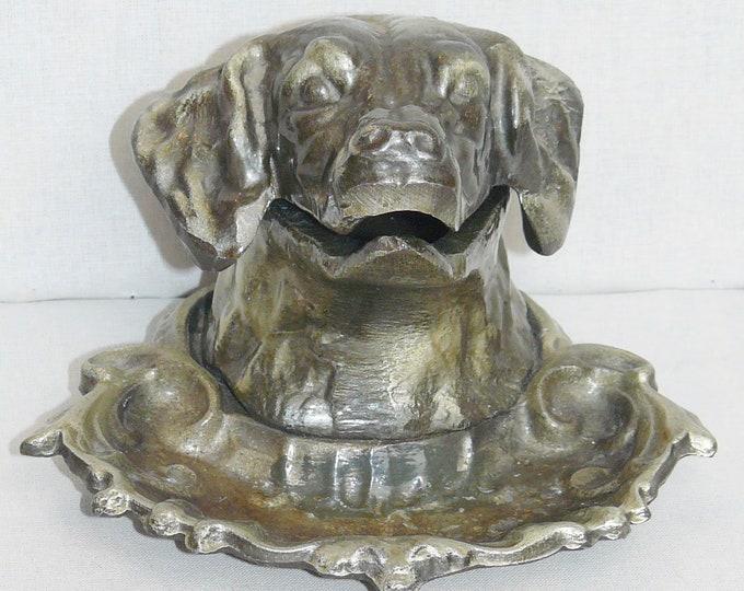 Soviet Original Russian  Bronze Figurine Dog Bronze Brass Ashtray USSR