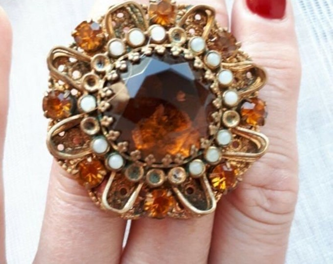 Vintage Soviet Period Brooch.Vintage Czech Jewelry.Old Broach. CSSR.Czech Bijouterie.Czech Glass.