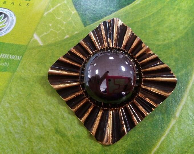 Vintage Soviet Russian Brass Brooch.Vintage Jewelry.Old Broach.USSR.Soviet Bijouterie.