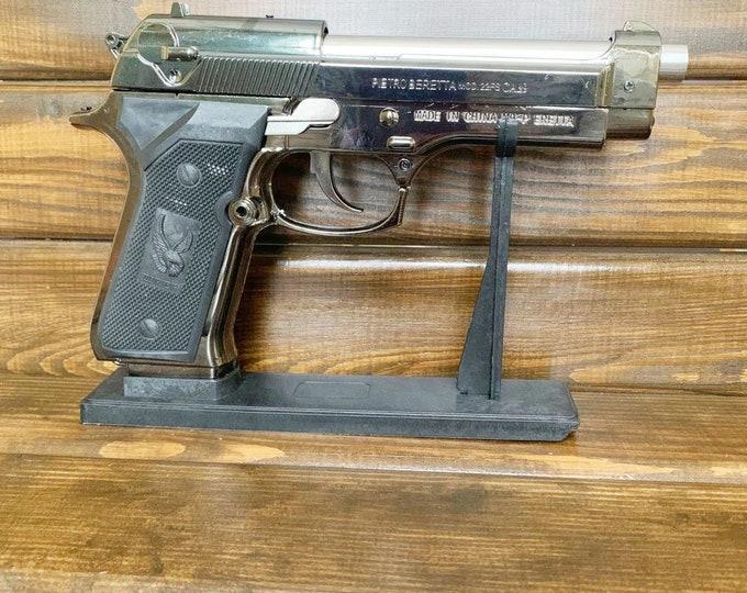 New Souvenir Pistol Gun Plastic Gas Jet Flame Lighter Beretta M9 With Stand