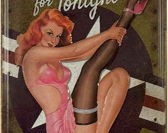 "New Loft Interior ""Target For Tonight"" Erotic Pin Up Style Decor Metal Advertising Wall Tin Plate Sign"