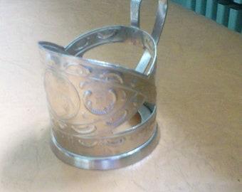 """Vintage Soviet Collectible Tea Glass Holder """" Zaporizhzhia"""" """" Dneproges"""". Russian Cup Holder . Retro Kitchen Drinkware. Kitchen Decor USSR."""