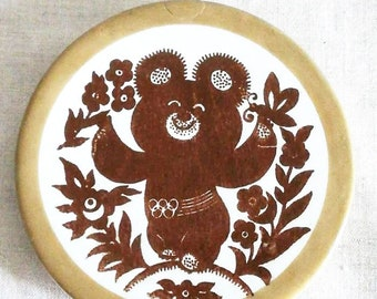 Rare Original Collectible Wall Plate Soviet Sport Olympics Russian Vintage Porcelain Plaquette Bear 1980 Olympic Games Moscow Misha USSR