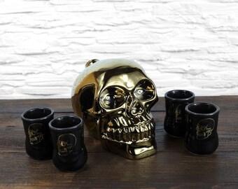 """New Gift Souvenir Decanter Set For Alcohol """"Golden Skull"""". Ceramic Bottle  and 4 Wineglasses. Shtof , Jug for Alcohol"""